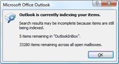 Outlook indexing