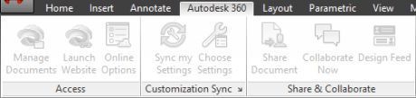 AutoCAD 2014 Autodesk 360 Tab fita