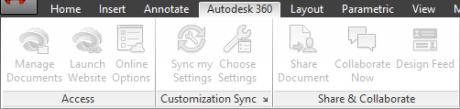 AutoCAD 2014 Autodesk 360 Ribbon Tab