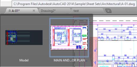 AutoCAD 2014 File Tabs
