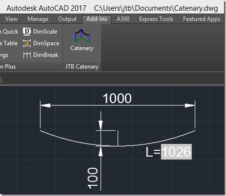 Catenary in AutoCAD