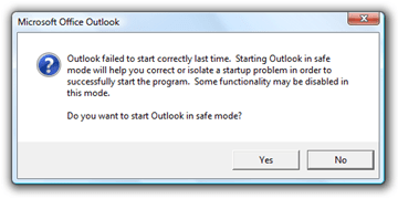 Outlook failed to start