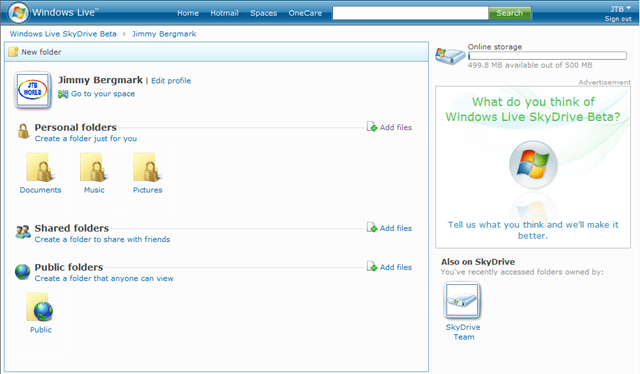 Windows Live SkyDrive Beta