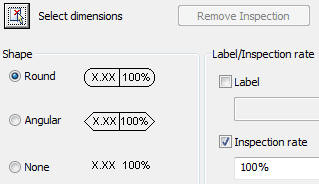 Inspection dimension dialog box