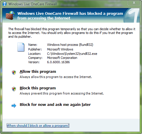 Windows Live OneCare Firewall